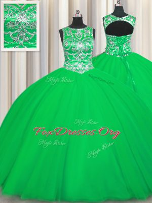 Affordable Scoop Floor Length Ball Gowns Sleeveless Green 15th Birthday Dress Lace Up
