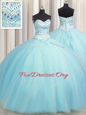 Captivating Bling-bling Big Puffy Aqua Blue Ball Gowns Sweetheart Sleeveless Tulle Floor Length Lace Up Beading Vestidos de Quinceanera