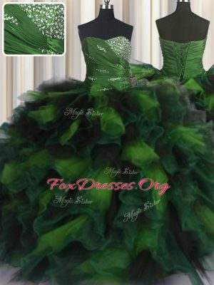 Attractive Floor Length Multi-color Ball Gown Prom Dress Organza and Tulle Sleeveless Beading and Ruffles
