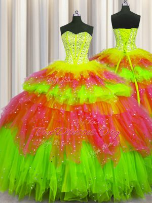 Bling-bling Visible Boning Multi-color Ball Gowns Sweetheart Sleeveless Tulle Floor Length Lace Up Beading and Ruffles and Ruffled Layers and Sequins 15th Birthday Dress