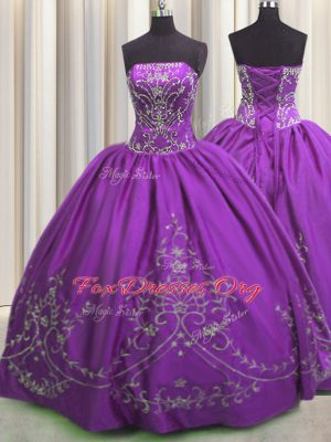 Superior Eggplant Purple Strapless Lace Up Embroidery Sweet 16 Quinceanera Dress Sleeveless
