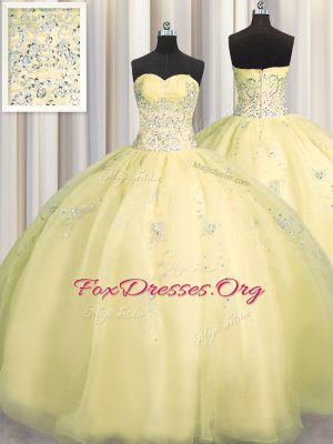 Stunning Really Puffy Sleeveless Organza Floor Length Zipper Sweet 16 Dresses in Light Yellow with Beading and Appliques