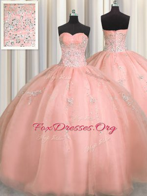 Puffy Skirt Watermelon Red Sleeveless Floor Length Beading and Appliques Zipper Quince Ball Gowns
