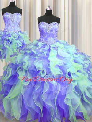 Three Piece Floor Length Ball Gowns Sleeveless Multi-color 15 Quinceanera Dress Lace Up