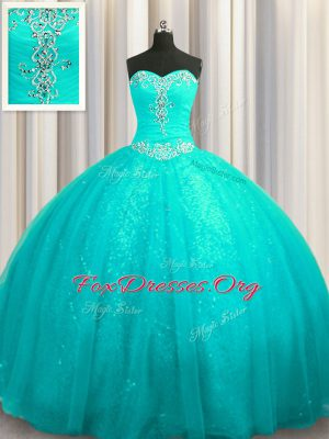Hot Selling Sequined Beading and Appliques Quinceanera Gowns Aqua Blue Lace Up Sleeveless Court Train