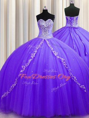 Best Ball Gowns Sleeveless Lavender 15th Birthday Dress Sweep Train Lace Up