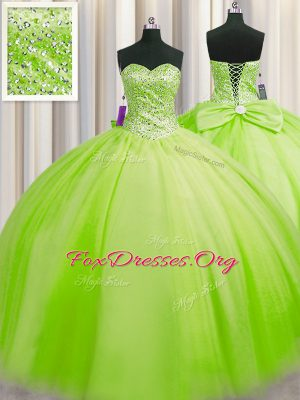 Vintage Big Puffy Beading Ball Gown Prom Dress Lace Up Sleeveless Floor Length