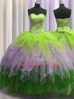 Fantastic Visible Boning Sweetheart Sleeveless Lace Up 15th Birthday Dress Multi-color Tulle