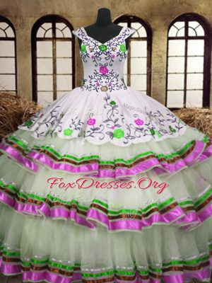 Multi-color Sweet 16 Quinceanera Dress Military Ball and Sweet 16 and Quinceanera and For with Embroidery and Ruffled Layers V-neck Sleeveless Lace Up