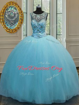 Luxury Tulle Scoop Sleeveless Lace Up Beading Ball Gown Prom Dress in Baby Blue