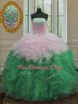 Stylish Beading and Ruffles Quinceanera Gown Multi-color Lace Up Sleeveless Floor Length