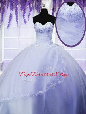 Light Blue Sleeveless Floor Length Appliques Lace Up Quinceanera Gowns