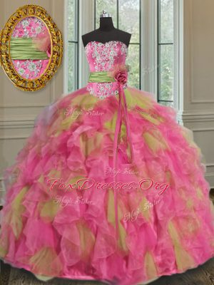Organza Sweetheart Sleeveless Lace Up Beading and Ruffles and Sequins Quince Ball Gowns in Multi-color