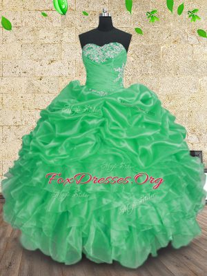Organza Sleeveless Floor Length Quinceanera Dress and Beading and Appliques and Ruffles and Ruching