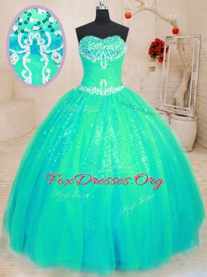 Fine Sweetheart Sleeveless Vestidos de Quinceanera Floor Length Beading and Appliques Turquoise Tulle and Sequined