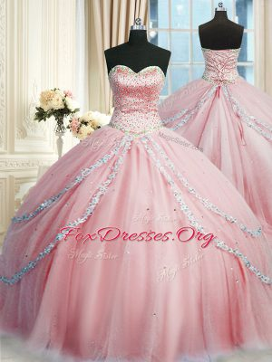 Beautiful Sweetheart Sleeveless Sweet 16 Quinceanera Dress With Train Court Train Beading and Appliques Pink Tulle