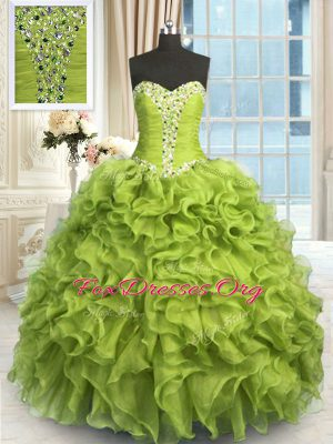 Fantastic Yellow Green Sweetheart Neckline Beading and Ruffles Quinceanera Dresses Sleeveless Lace Up