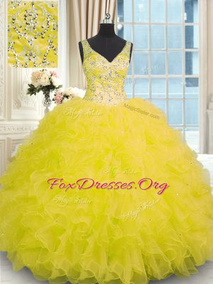Perfect Yellow Organza Zipper Quinceanera Dresses Sleeveless Floor Length Beading and Ruffles