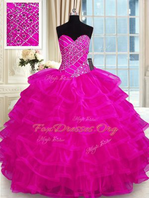 Perfect Fuchsia Ball Gowns Organza Sweetheart Sleeveless Beading and Ruffled Layers Floor Length Lace Up Quinceanera Gowns