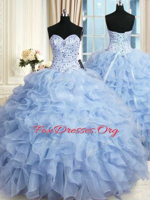 Light Blue Sleeveless Organza Lace Up Quince Ball Gowns for Military Ball and Sweet 16 and Quinceanera