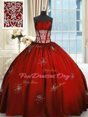 Floor Length Lace Up Sweet 16 Dresses Wine Red for Military Ball and Sweet 16 and Quinceanera with Beading and Appliques and Ruching