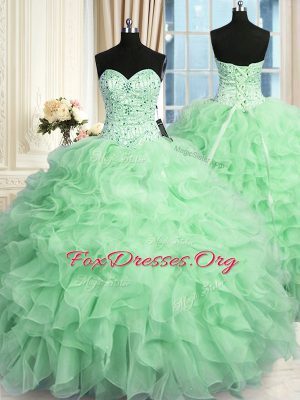 Sleeveless Floor Length Beading and Ruffles Lace Up 15 Quinceanera Dress with Apple Green