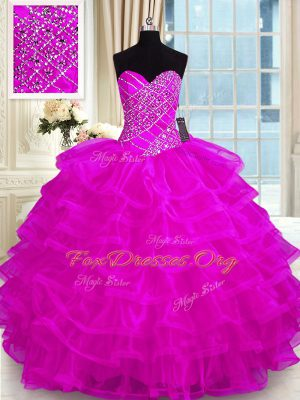 Attractive Ruffled Floor Length Ball Gowns Sleeveless Fuchsia Quinceanera Dress Lace Up