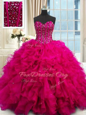 Custom Design Fuchsia Ball Gowns Beading and Ruffles and Sequins Quinceanera Dresses Lace Up Organza Sleeveless Floor Length