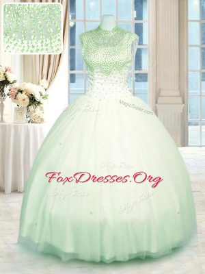 Ideal Tulle High-neck Sleeveless Zipper Beading Vestidos de Quinceanera in Green