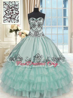 Ruffled Layers Apple Green Sleeveless Organza and Taffeta Lace Up Quinceanera Dress for Sweet 16 and Quinceanera