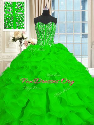 Best Sleeveless Organza Brush Train Lace Up Sweet 16 Quinceanera Dress for Military Ball and Sweet 16 and Quinceanera