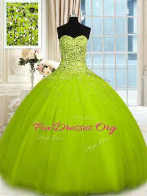 Beauteous Sweetheart Sleeveless Lace Up Quince Ball Gowns Olive Green Tulle
