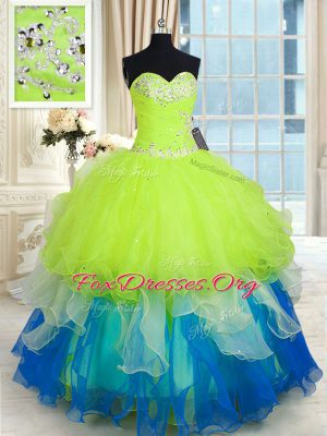 Chic Multi-color Organza Lace Up Ball Gown Prom Dress Sleeveless Floor Length Beading and Ruffles
