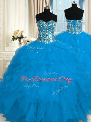 Sumptuous Organza Sweetheart Sleeveless Lace Up Beading and Ruffles Ball Gown Prom Dress in Blue