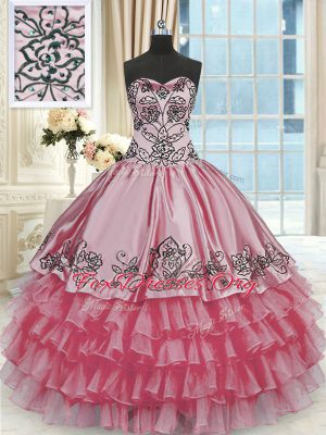 Ruffled Rose Pink Sleeveless Organza and Taffeta Lace Up Sweet 16 Dresses for Military Ball and Sweet 16 and Quinceanera