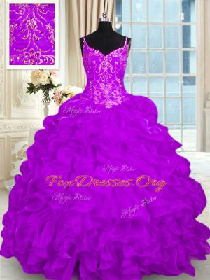 Romantic Ball Gowns Sleeveless Purple Ball Gown Prom Dress Brush Train Lace Up