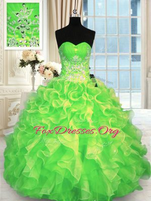 Organza Sweetheart Sleeveless Lace Up Beading Quinceanera Dresses in