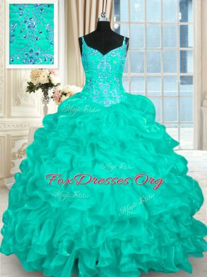 Turquoise Ball Gowns Organza Spaghetti Straps Sleeveless Beading and Ruffles Lace Up Sweet 16 Quinceanera Dress Brush Train