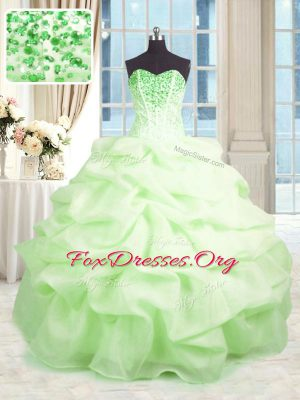 Chic Sleeveless Organza Floor Length Lace Up Sweet 16 Quinceanera Dress in with Beading and Ruffles
