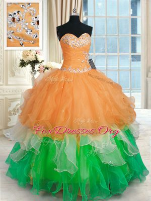 Floor Length Lace Up 15 Quinceanera Dress Multi-color for Military Ball and Sweet 16 and Quinceanera with Beading and Ruffles