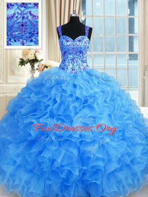 Beading and Embroidery and Ruffles Quince Ball Gowns Baby Blue Lace Up Sleeveless Floor Length