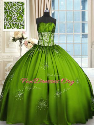 Perfect Strapless Sleeveless Lace Up Quinceanera Dresses Taffeta
