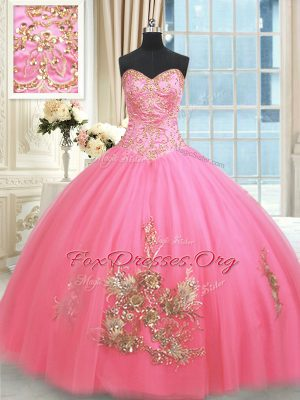 Perfect Rose Pink Lace Up Quinceanera Gowns Beading and Appliques and Embroidery Sleeveless Floor Length