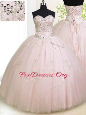 Perfect Baby Pink Tulle Lace Up Sweetheart Sleeveless Floor Length Sweet 16 Dresses Beading and Appliques