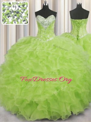 Popular Yellow Green Lace Up Quinceanera Dress Beading and Ruffles Sleeveless Floor Length