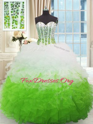 Nice Multi-color Sweetheart Lace Up Beading and Ruffles Sweet 16 Dresses Sleeveless