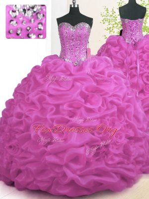 With Train Lace Up Quinceanera Gown Fuchsia for Military Ball and Sweet 16 and Quinceanera with Beading and Ruffles Brush Train