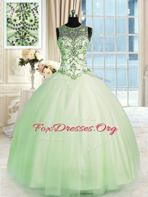 Colorful Scoop Sleeveless Floor Length Beading Lace Up 15 Quinceanera Dress with Apple Green