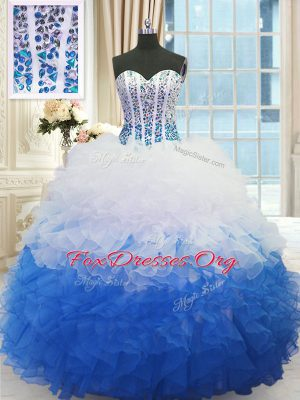 Low Price Blue And White Sweetheart Lace Up Beading and Ruffles Sweet 16 Dress Sleeveless