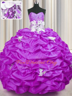 Appliques and Sequins and Pick Ups Ball Gown Prom Dress Lilac Lace Up Sleeveless With Brush Train